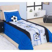 Kit Edredom Solteiro Soccer (Futebol) 03 Peças Estampado com Almofada - cor  Azul