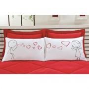 Fronha Emoções LOVE - Kit com duas - Tecido Percal 150 fios 100% algodão - Bolha de Amor