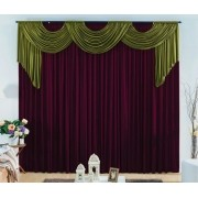Cortina London 2,00 x 1,70m- Varão duplo- Roxo com verde