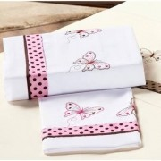 Jogo de Lençol Casal Queen Naturalle 4 Peças Bordado Borboleta Tecido Misto- Branco com Rosa