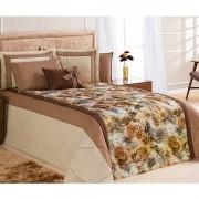 Cobre leito Casal Queen Savana 07 Peças Com Almofada e 4 Porta Travesseiros - Caqui Onça