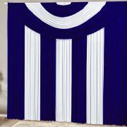 Cortina Suprema 2,00 x 1,70 metros -  Azul com Branco