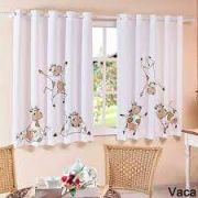 Cortina para Cozinha Corta Luz tecido  em PVC - Estampa Vaquinha - 2 x 1,25m