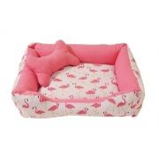 Cama Pet Para Cachorro e Gato Pequena 40cmx50cm Flamingo