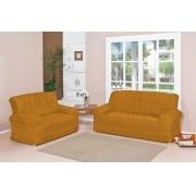 Capa para Sofá de 2 e 3 Lugares tecido de Malha em Gel com Elásticos - Amarelo
