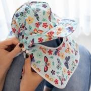 Chapéu de Banho com Aba Removível Bebê e Infantil Tricoline - Borboletas