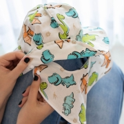 Chapéu de Banho com Aba Removível Bebê e Infantil Tricoline  - Dinossauro