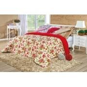 Coberdrom Confort Casal Padrão Percal 180 Fios Floral - Vermelho