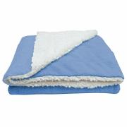 Cobertor Manta Soft Bebê Dupla Face Macio Sherpa Palha e Microfibra Azul