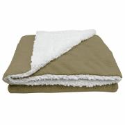 Cobertor Manta Soft Bebê Dupla Face Macio Sherpa Palha e Microfibra Bege