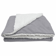 Cobertor Manta Soft Bebê Dupla Face Macio Sherpa Palha e Microfibra Cinza