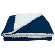 Cobertor Manta Soft Bebê Dupla Face Macio Sherpa Palha e Microfibra Marinho