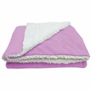 Cobertor Manta Soft Bebê Dupla Face Macio Sherpa Palha e Microfibra Rosa