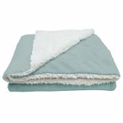 Cobertor Manta Soft Bebê Dupla Face Macio Sherpa Palha e Microfibra Verde Claro