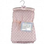 Cobertor Sweet Baby Rosa Com Bolinhas Para Bebê 1,50m x 1,00m - Rosa