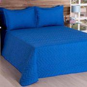 Cobre Leito Casal Deccoralle 03 Peças Liso C/ Matelado - Azul
