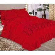 Cobre Leito Casal King Elegance Bordada - 5 Peças  - Vermelho
