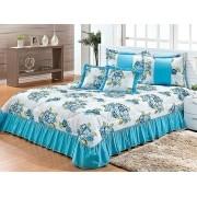 Cobre Leito Casal Padrão 07 peças Kit Harmony- Floral Azul