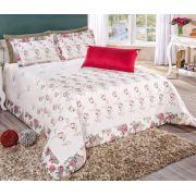 Cobre Leito Casal Queen Floralis 07 pçs 100% algodão - Vermelho