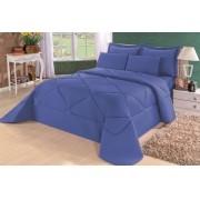Cobre Leito Casal Queen Kit Conforto Liso Marrom + 1 Lençol de Elástico  - 6 PÇS - Azul