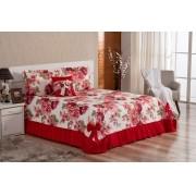 Cobre Leito  Casal Queen Laila 5 peças- Vermelho Floral