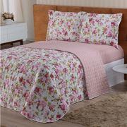 8b32a95b30 Cobre leito Valentina Casal Estampado 03 Peças- Floral Rosa