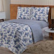 Cobre leito Valentina Queen Estampado 03 Peças- Azul