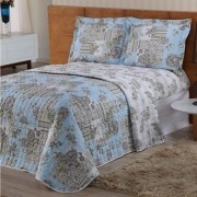 Cobre leito Valentina Queen Estampado 03 Peças- Floral Azul