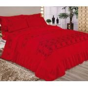 Colcha Casal Queen Elegance Bordada - 5 Peças  - vermelho