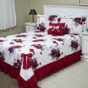 Colcha Casal Queen Laila 5 peças- Vermelho Floral