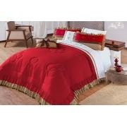 Colcha Casal Queen Naturalle 5 pecas  Percal 150 Fios algodão - Vermelho