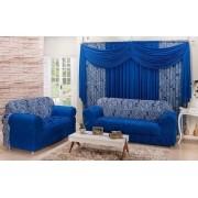 Combinado Capa de Sofá com elástico + Cortina 2 x 1.70m - Azul