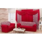 Combinado Capa de Sofá com elástico + Cortina 3,00 x 2.50m - Vermelho