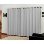 Cortina  Blackout  com Voil Tecido 4,00x2,80m Corta Luz - cor cinza