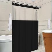 Cortina Banheiro Com Visor - Preto