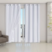 Cortina Blackout PVC com Tecido Voil 2,80 m x 2,30 m Branco