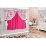 Cortina Catarina com Aplique e Voal 2,00 x 1.70m  Pink