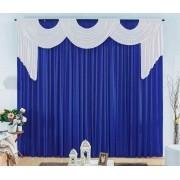 Cortina London  4 x 3.30 metros - branca com bando azul