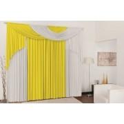 Cortina para Sala e Quarto Elegance 3,00 x 2,80 metros - Cor amarelo com branco