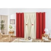 Cortina para sala e quarto Rustica 2,00 x 1,70m - Vermelho com Avelã