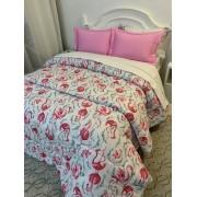 Edredom Malha em Fio Penteado Coleção Flamingo em tecido 100% Algodão