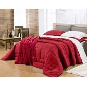 Edredom Natura Solteiro Malha Fio penteado 100% algodão- Vermelho