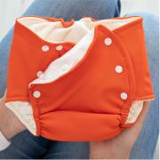 Fralda Ecológica e de Piscina Reutilizável Bebê com Absorvente -Laranja