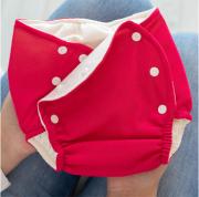 Fralda Ecológica e de Piscina Reutilizável com Absorvente Bebê -Vermelho