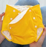 Fralda Ecológica e de Piscina Reutilizável com Absorvente Infantil -Amarelo