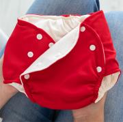 Fralda Ecológica e de Piscina Reutilizável com Absorvente Infantil -Vermelho