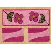 Jogo de Passadeira de Cozinha 03 Peças Rosa Flores