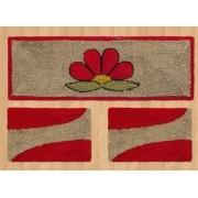 Jogo de Passadeira de Cozinha 03 Peças Vermelho Flor