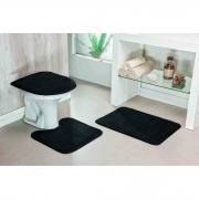 kit banheiro 03 peças liso - preto
