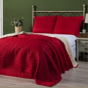 Kit Cobre leito 03 peças Sherpa Pele de Carneiro Queen 2,40 x 2,20 Vermelho